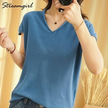 Woman T-shirts For Women 2021 Summer V-neck Knitted T Shirt Women Basic Black Cotton Tshirts Women's T-shirts Short Sleeve 2021 1