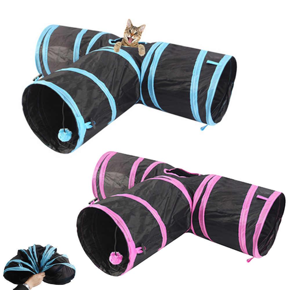 3 구멍 foldable 애완 동물 고양이 터널 실내 야외 애완 동물 고양이 훈련 고양이 토끼에 대 한 대화 형 장난감 강아지 동물 놀이 터널 튜브 숨기기