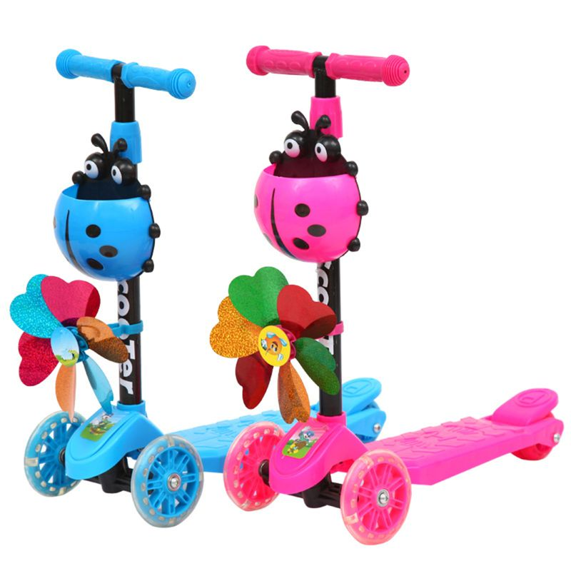Objective Windmill Ladybug Scooter Foldable And Adjustable Height Lean To Steer 3 Wheel Scooters For Toddler Kids Boys Girls Age 3-8