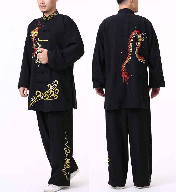 Disesuaikan Musim Gugur dan Musim Dingin Unisex Bordir Dragon/Phoenix Hangat Tai Chi Taiji Cocok Wushu Seragam Seni Bela Diri Kung Fu pakaian