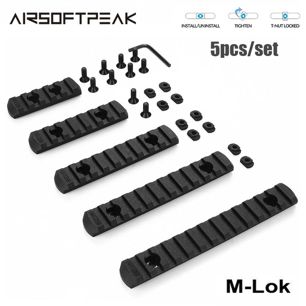 5pcs/ Set Tactical M-Lok Picatinny Rail 5 7 9 11 13 Slots Mlok Scope Mount Weaver Nylon Picatinny Side Rails Section MLOK System