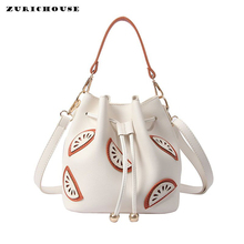 ZURICHOUSE 2019 Handbag Ladies PU Leather Bucket Bags Fashion Watermelon Patch Design Shoulder Crossbody Bag Women стоимость