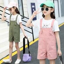 Girls summer suit 2019 new cotton short-sleeved O-Neck printed cartoon shoulder strap double side bag jeans girls fashion