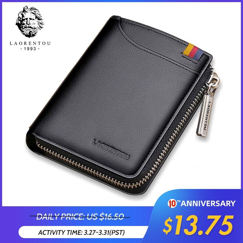 LAORENTOU Wallets Men Card Holder Man Genuine Leather Short Wallet Purse Zipper Wallets Casual Standard Wallets For Male