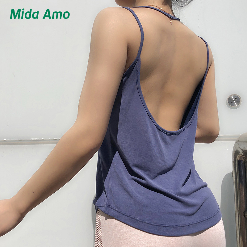 KFDD Good Quality Sexy Yoga Top Women Sports Gym Backless Workout Quick Dry Shirt Sleeveless Running Exercise Casual Tank Top
