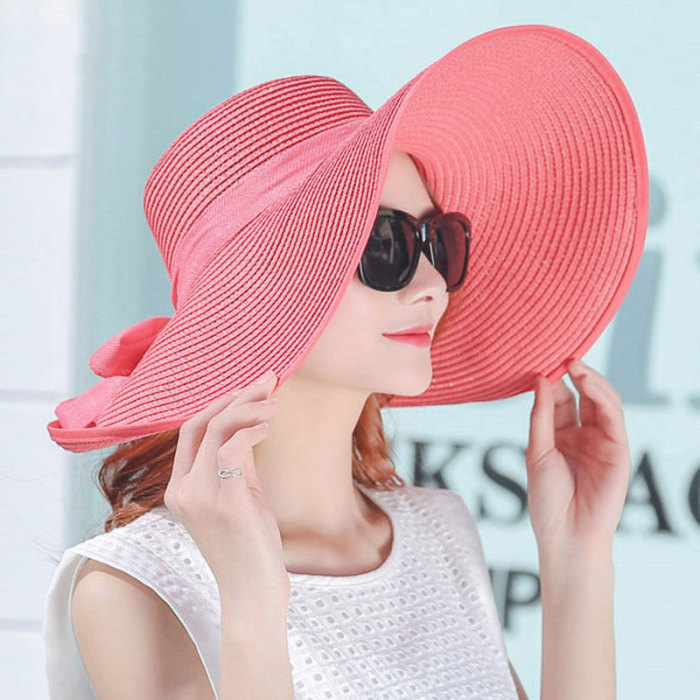 Moda feminina verão chapéus dobrável grande borda