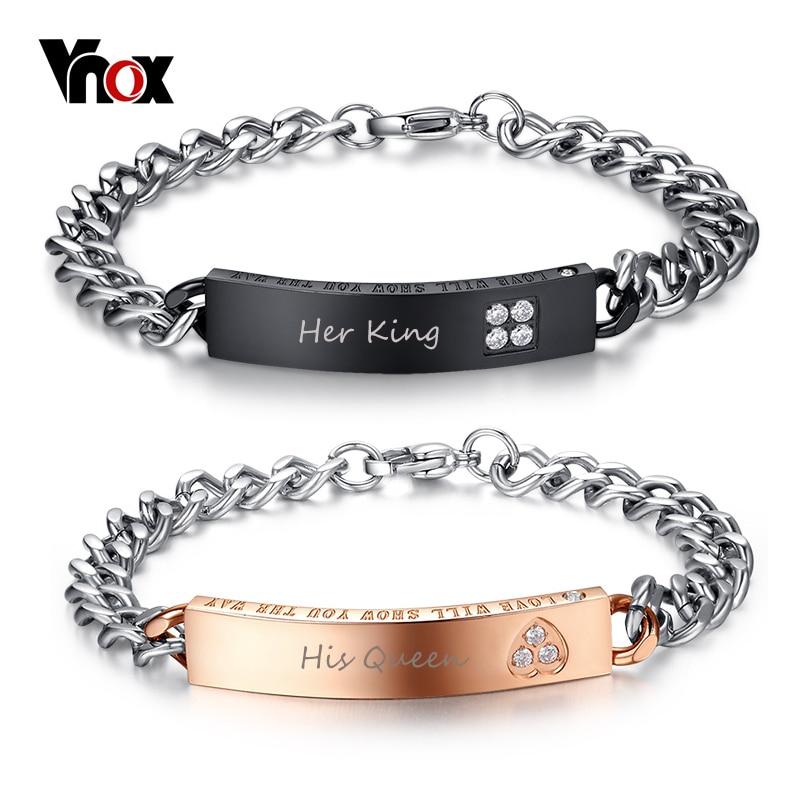 Vnox Personalisierte Geschenk für Liebhaber Paar Armbänder Edelstahl Armbänder für Frauen Männer Angepasst Benannt Armband Schmuck
