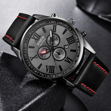 XINEW Men Watch Leather Band Sports Date Analog Alloy Milita
