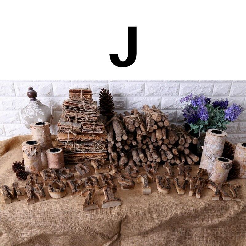 Вместе с коры твердой древесины Ретро Деревянный Английский алфавит номер для кафетерий украшение для дома, ресторана винтажная самодельная буква - Цвет: J
