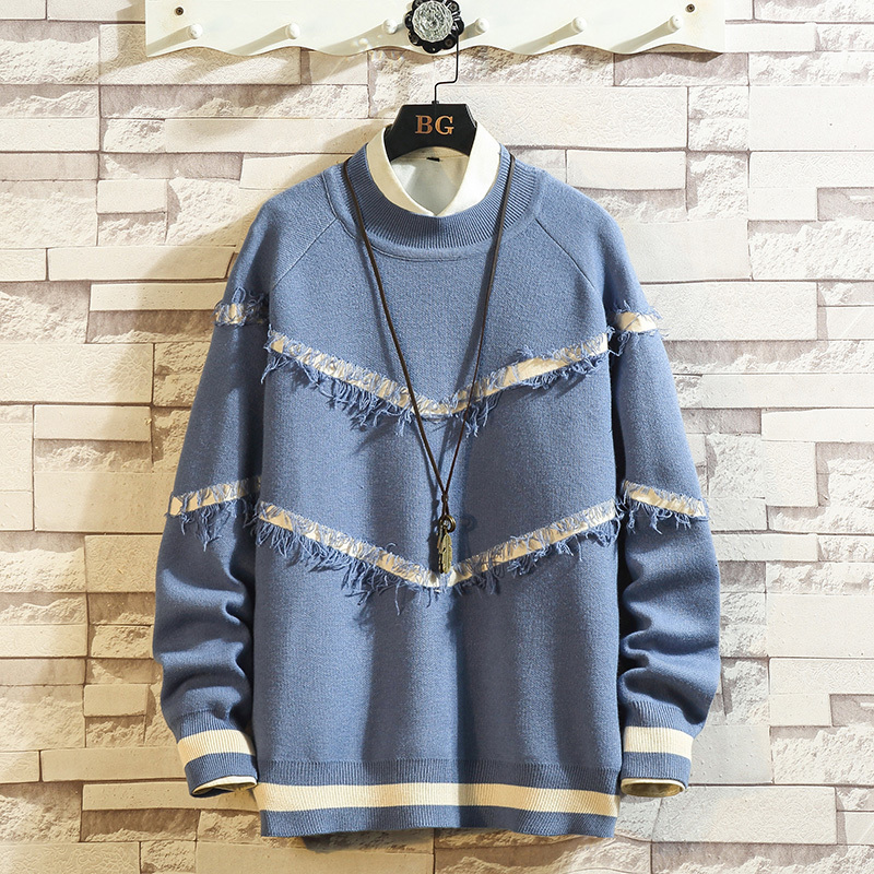 Winter Sweater Men Warm Fashion Print Contrast Color Casual Knit Pullover Men Knitting Sweaters Large Size Sweter Clothes M-5XL