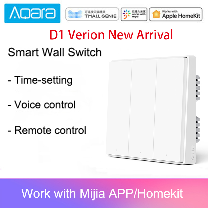 Original Aqara Mijia Smart Home Light Control D1 Single Fire Wire ZigBee Wireless Key Wall Switch Via Smartphone APP
