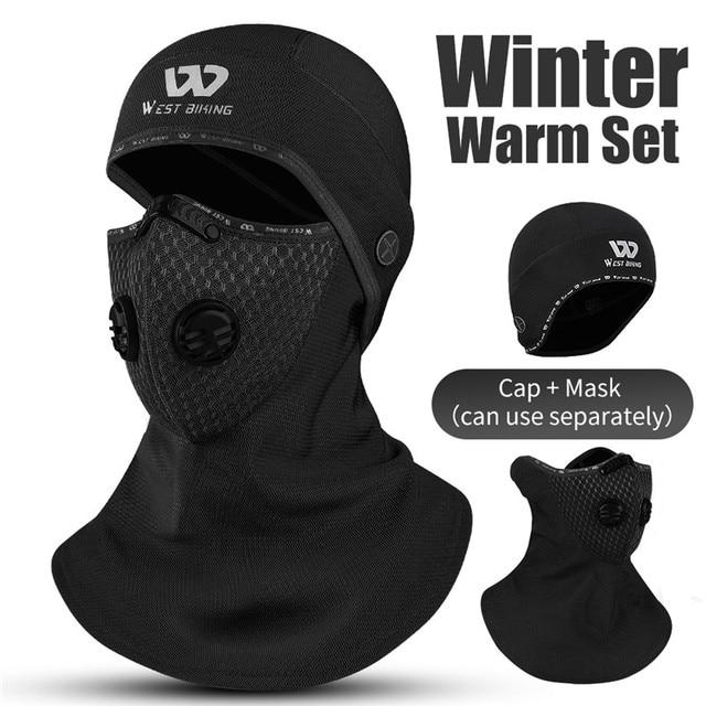 Ouest vélo Sport bandana de cyclisme hiver cagoule couverture de visage avec filtre à charbon actif Ski moto polaire chapeau de tête