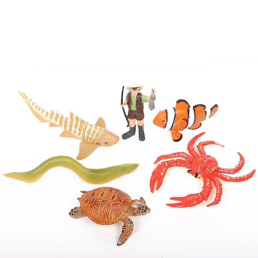 สมจริงภายใต้น้ำ Ocean สัตว์ทะเลฉลามปูเต่าปลาไหลรูปของเล่นสำหรับอาบน้ำเด็กเด็กวัยหัดเดินการศึกษา Party Favors