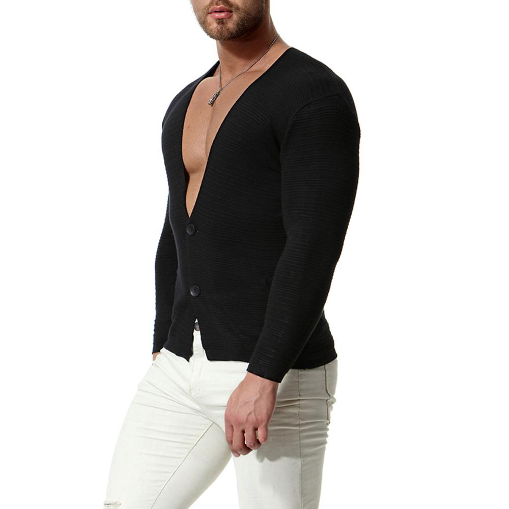 Casual Sweater Men Solid Color Warm Sweaters