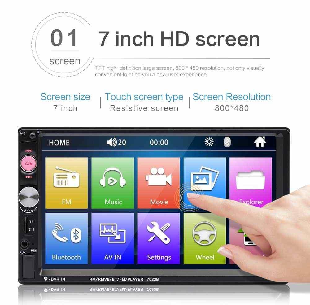 2 Din 7 インチ TFT タッチスクリーン 7023B Autoradio 車のプレーヤー FM ラジオ Bluetooth ステレオサポートリアビューカメラ MP5