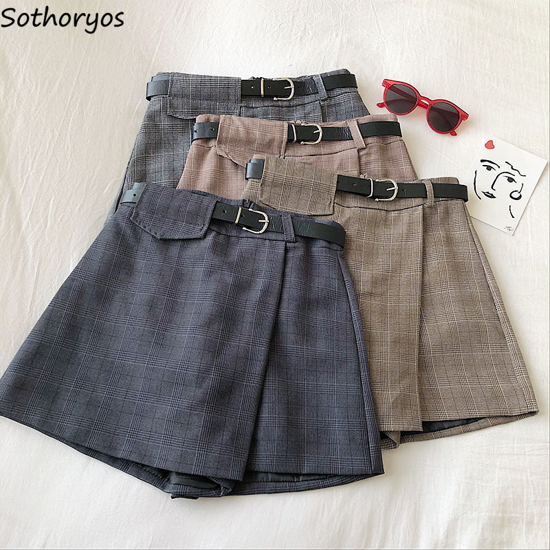 Shorts Skirts Women Summer Sashes Vintage Plaid Asymmetrical High-waist Elegant Leisure Ladies All-match Wide-leg Ulzzang Chic