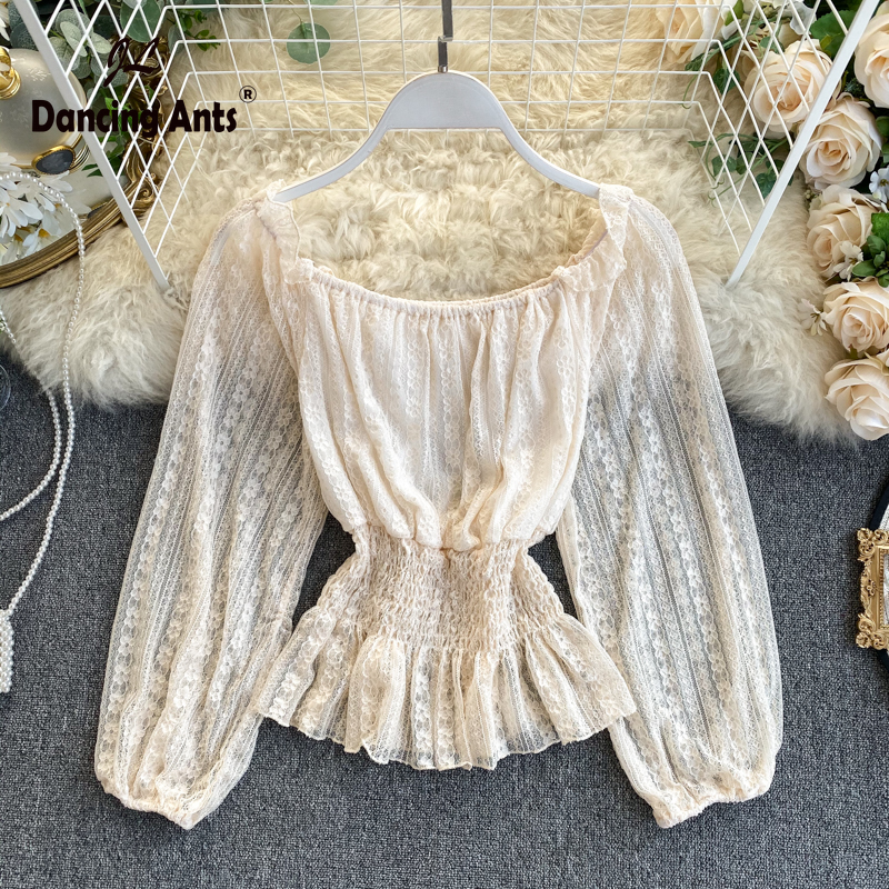Woman Shirts Long Puff Sleeve Slash Neck Lace Shirt Solid Elastic Waist Ruffles Office Lady Pullover Female Shirts 2020 Spring