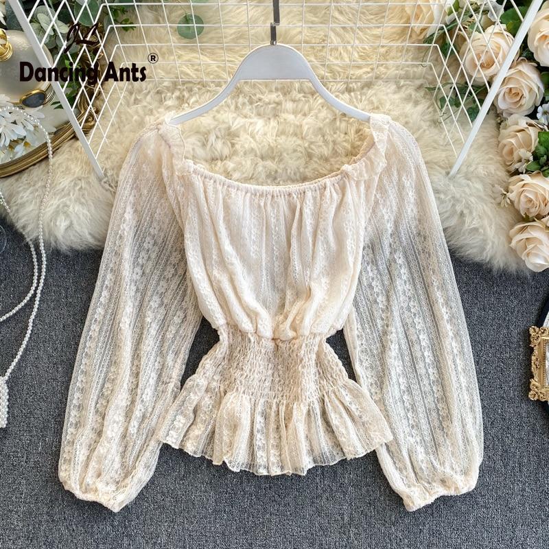Woman Shirts Long Puff Sleeve Slash Neck Lace Shirt Solid Elastic Waist Ruffles Office Lady Pullover Female Shirts 2020 Spring