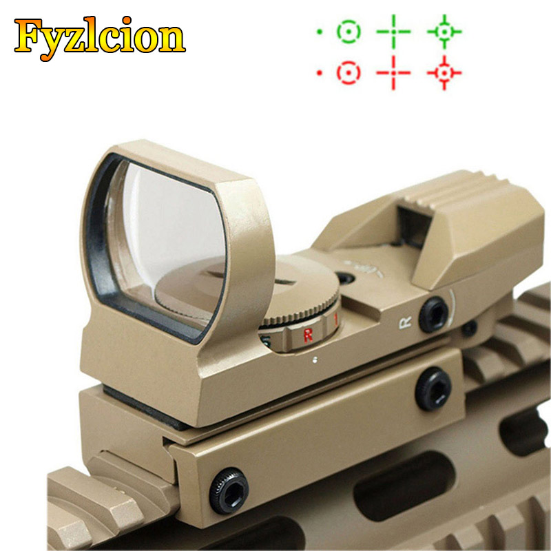 Tactical Holographic Reflex Sight Red - Green Dot Sight 4 Reticles With 20mm Rail Mount - Tan/Black