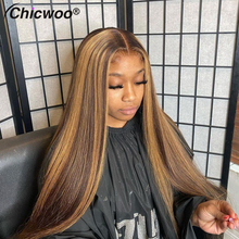 Ombre Straight Lace Front Wig Highlight 38Inch Lace Front Wig Brazilian Remy Highlight Wig Honey Brown Colored Human Hair Wigs