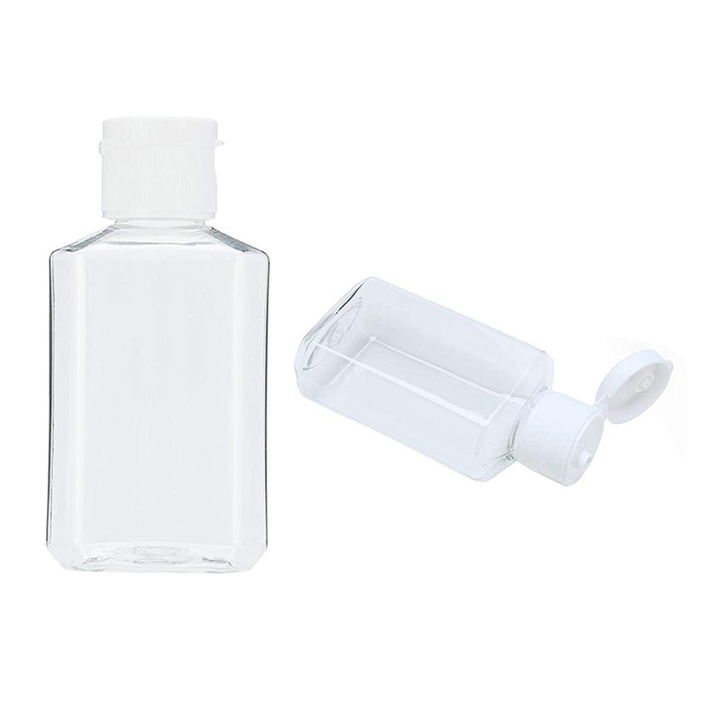 20Pcs 60ml Portable Travel Clear Empty Refillable Sanitizer Liquid Soap Bottle Plastic Mini Container Empty Cosmetic Containers