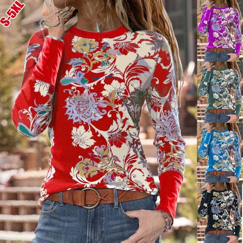 2021; Новые весенние топы 5XL винтажные женские Цветочный принт рубашка с длинным рукавом женские юбка с высокой талией размера плюс, топы, повс...