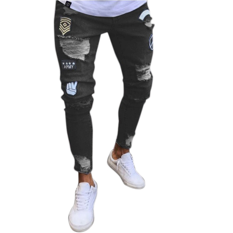 Fashion Street Wear Men'S Jeans Trend Knee Knee Hole Ripped Jeans Trousers Embroidered Jeans Mens Skinny Elastic Pencil Pants Bl