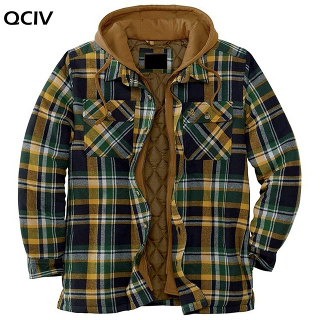Explosive Men's Clothing European American Autumn and Winter Models Thick Cotton Plaid Long-sleeved Loose Hooded Jacket 5