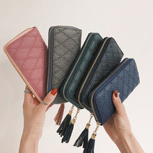 NEW 5 colors Tassel Women purse Brand Design Solid Zipper cluth PU Leather Wallet Women Wallets And Purses Portefeuille Femme stylish women s satchel with pu leather and zipper design