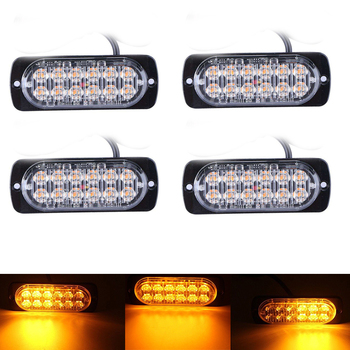 LED Emergency Strobe Warning Light Bar 12 leds Truck 24V 12V Flashing Super Bright Caution Amber Waterproof  Auto Car SUV Van цена 2017