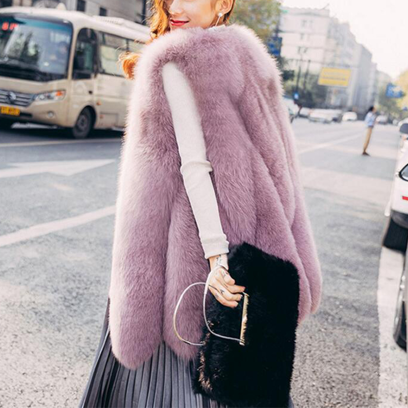 Warm Faux Fur Fox Vest Women Winter Casual Artifical Fur Warm Coat Super X-Long Waistcoat Female Faux Furs Wholesale