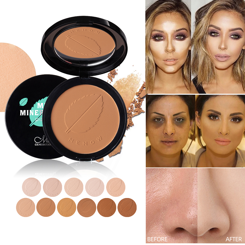 11 Colors Soft Translucent Compact Pressed Powder Face Contour Palette Finishing Powder Setting Makeup Bare Mineralize Cosmetic image