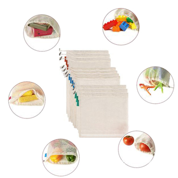 10pcs Reusable Cotton Mesh Bags Grocery Vegie Fruit Storage Shopping String Bags