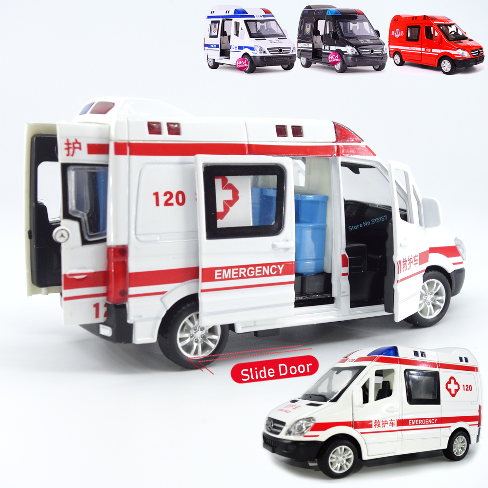 1:32 City Diecast Ambulance Emergency Toy Car Model Light Slide Open Door Ambulancia Oyuncak Educational Kids Toys For Children