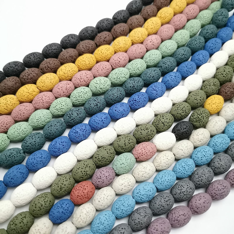 Natural Lava Rock Beads8X12/12x15mm Multi Color Volcanic Stone Loose Beads For DIY Necklace Bracelets Earring Jewelry Making