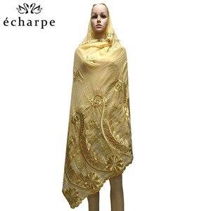 Image 3 - Шарф из 100% хлопка, женский шарф в африканском стиле, мусульманский шарф с цветочной вышивкой, шарф EC127