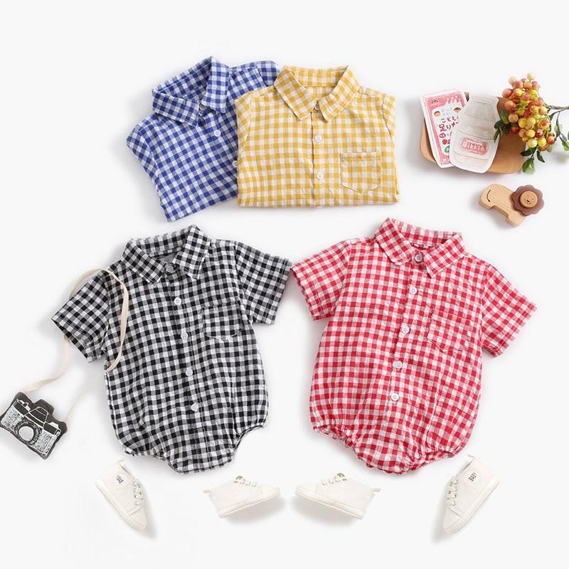 Baby Bodysuit Baby Clothes Spring Summer Plaid 100% Cotton Baby Shirt Sleeve Shirt Jumpsuit Boys Girls Bodysuit Newborn Onesies