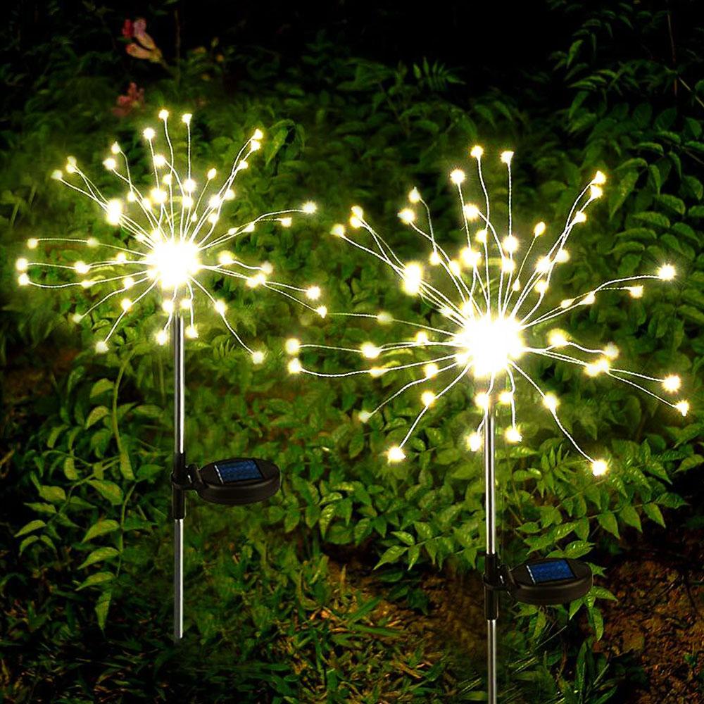 Solar Decking Lighting Fireworks LED Lights Warm White Decorative Stake Landscape Light Waterproof Starburst Lights for Walkway Pathway Backyard Christmas Party Decor