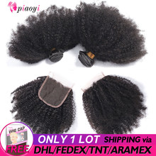 Piaoyi Hair Malaysian Afro Kinky Curly Human Hair Weave Bundles With Closure 3 Bundles With 4x4 Lace Closure Remy Hair Extension(China)