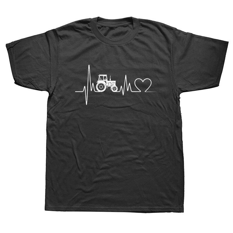 Brand Clothes Printing Beer T Shirts Tractor Heartbeat Pulse Farm Farmer Farming T-shirt Men Tees Tops Streetwear