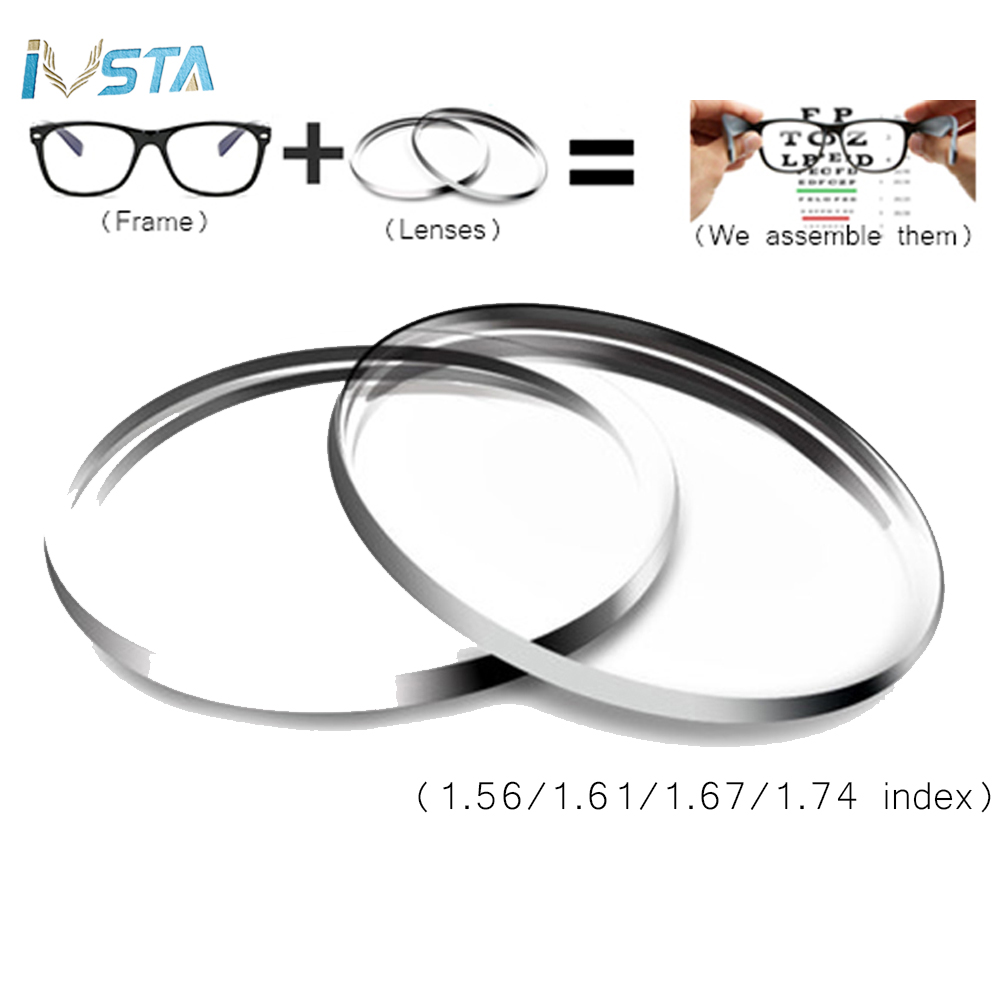 IVSTA 1.56 1.61 1.67 Aspherical Lenses Anti Blue Light Rays Computer Glasses Men Women Prescription Hyperopia 1.74 Myopia