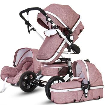 коляска Baby Stroller 3 in 1 Hot Mom Stroller Luxury Travel Pram Carriage Basket Baby Car Seat and Stroller Carrito Bebe