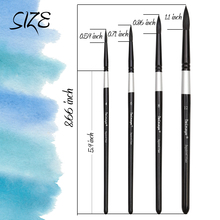 Professional 4Pcs Black Handle Round Brushes set Squirrel Hair Art Painting Brushes for Artistic Watercolor Gouache Wash Mop