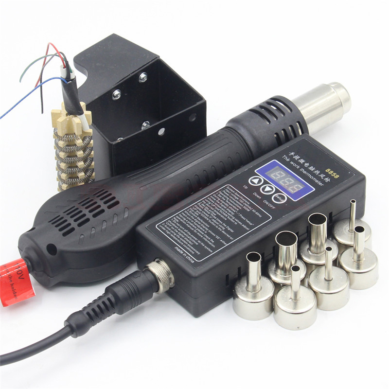 100-300W 8858 Plug Portable BGA Rework Soldering Station Hot Air Blower Heater With Welding Tools