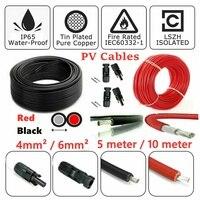 5 M/10 M Rot/Schwarz Solar Panel PV Kabel DC 4mm ²/6mm ² Doppelt Isoliert mit optional 2 stücke PV Stecker|Solar-Zubehör|Verbraucherelektronik -