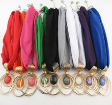 Classic Foreign Trade Jewelry Pendant Scarf ring alloy pendant Womens neck Polyester solid color scarf.