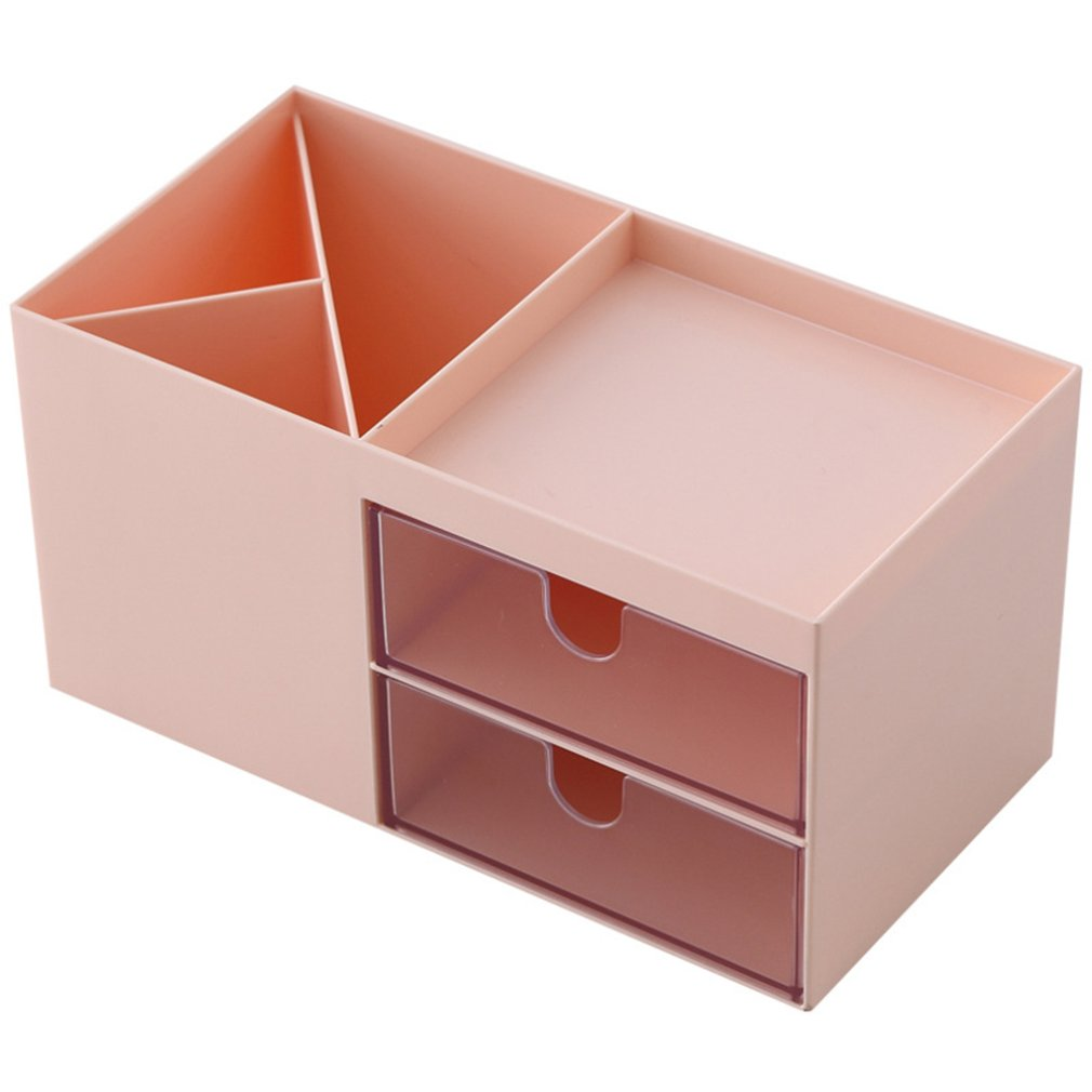 Plastic Cosmetics Storage Box Double Drawer Compartment Box Jewelry Storage Box Simple Dustproof Box