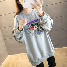 все цены на Autumn Thin Pullover Women Sweatshirt Casual Loose Plus Size Hoodies Long Sleeve Drop-shoulder Harajuku Cartoon Mickey Sport Top онлайн