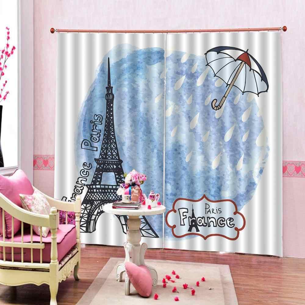 Blue Curtains Tower Paris Scene Raindrops And Umbrella Blue
