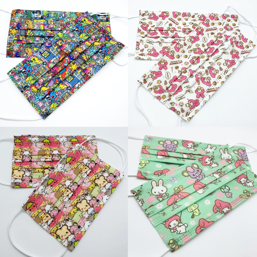 50Pcs Cartoon Dessert Rabbit Duck Letters Disposable Protective Dust Masks 3-Layer high quality Non-woven Fabric